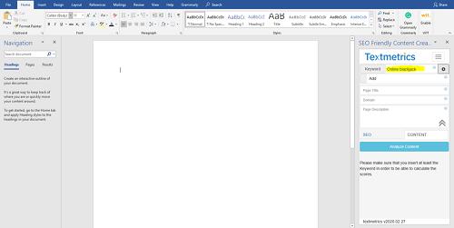 Textmetrics on Microsoft Word